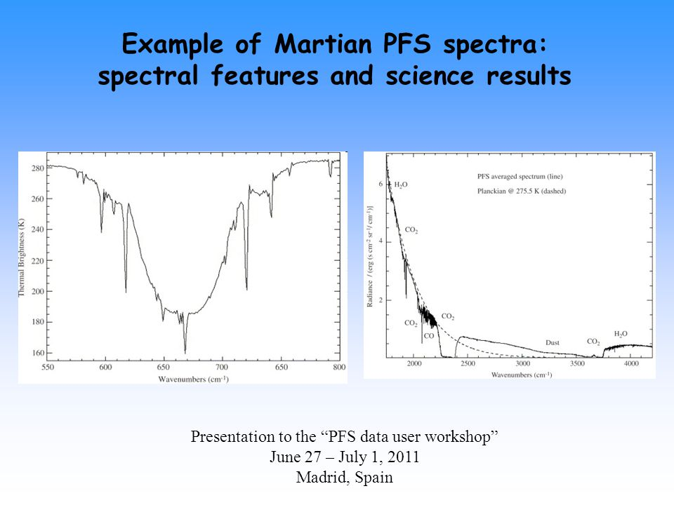 Presentation to the PFS data user workshop June 27 – July 1, 2011 Madrid, Spain Example of Martian PFS spectra: spectral features and science results