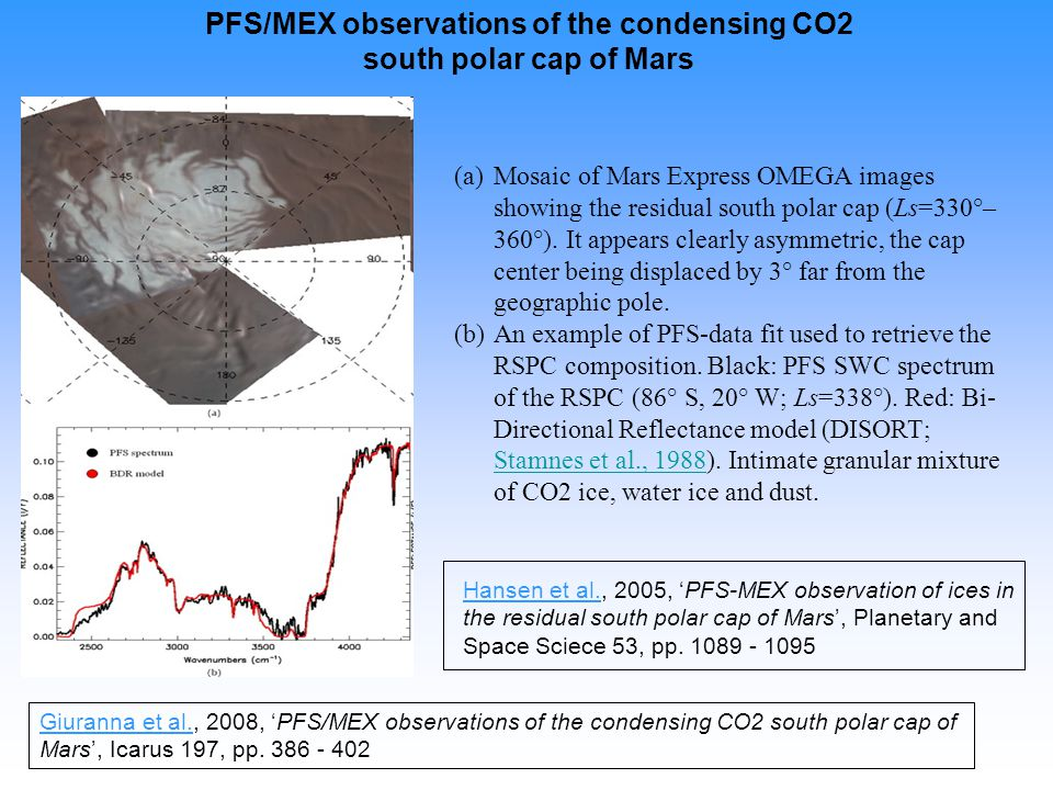 PFS/MEX observations of the condensing CO2 south polar cap of Mars (a) (a)Mosaic of Mars Express OMEGA images showing the residual south polar cap (Ls=330°– 360°).