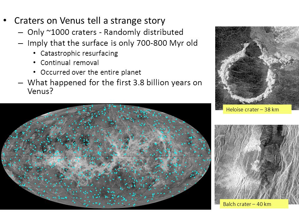 Craters on Venus tell a strange story – Only ~1000 craters - Randomly distributed – Imply that the surface is only 700-800 Myr old Catastrophic resurfacing Continual removal Occurred over the entire planet – What happened for the first 3.8 billion years on Venus.