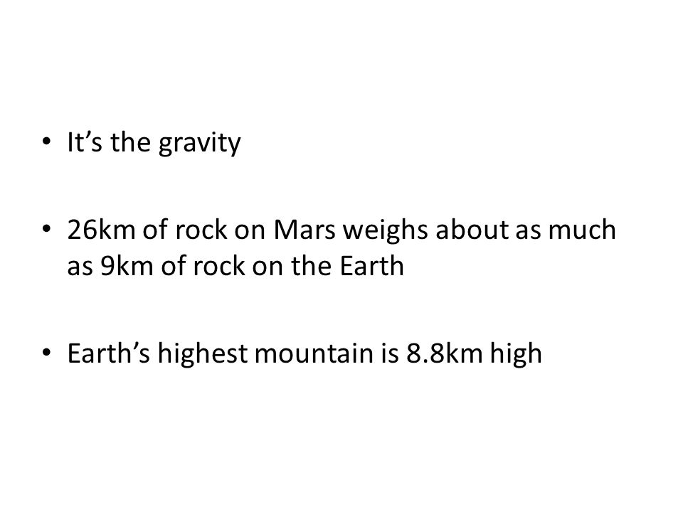 It's the gravity 26km of rock on Mars weighs about as much as 9km of rock on the Earth Earth's highest mountain is 8.8km high
