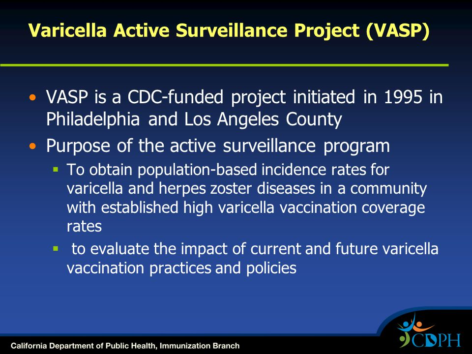 Varicella Active Surveillance Project (VASP) VASP is a CDC-funded project initiated in 1995 in Philadelphia and Los Angeles County Purpose of the acti