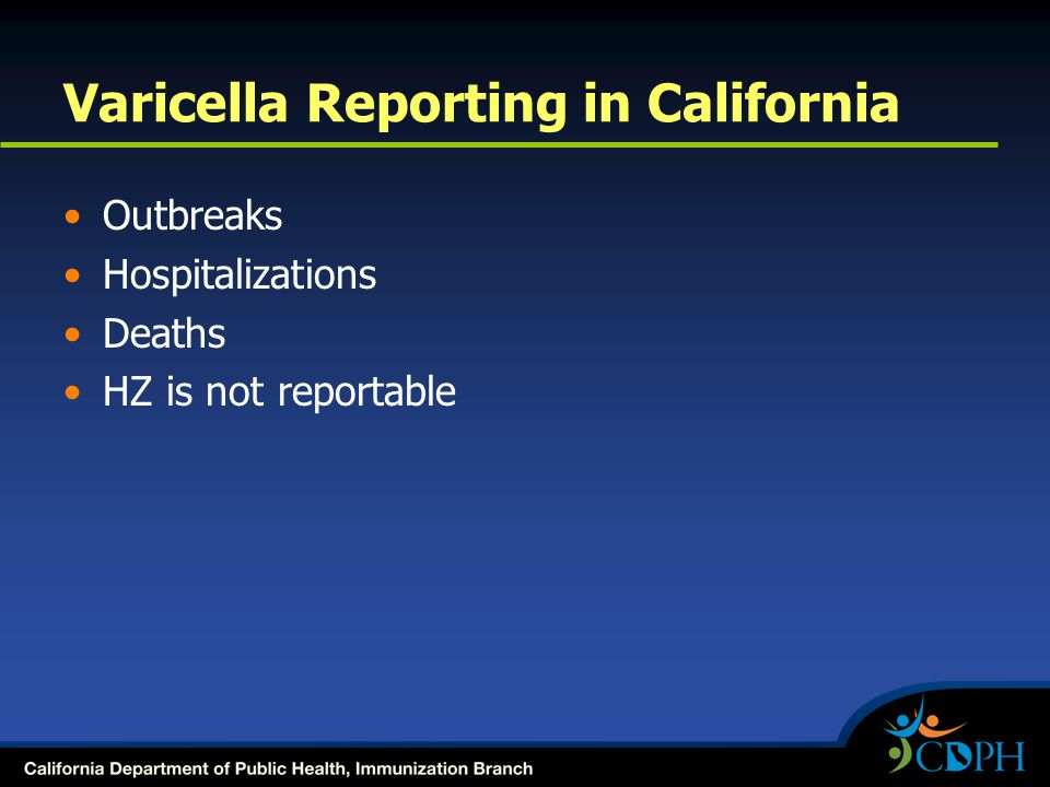 Varicella Reporting in California Outbreaks Hospitalizations Deaths HZ is not reportable
