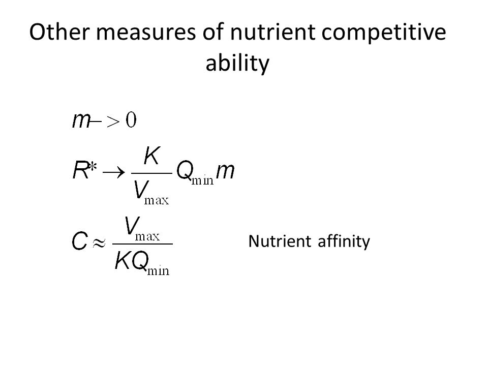 Other measures of nutrient competitive ability Nutrient affinity