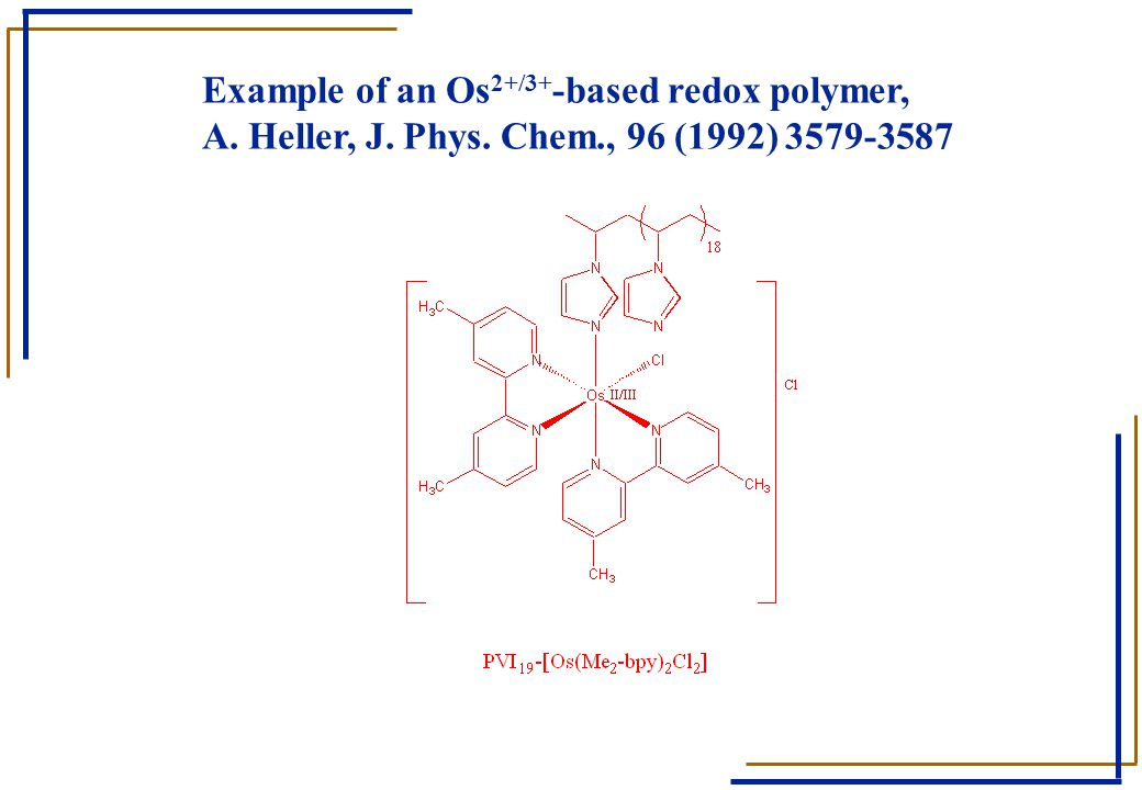 Example of an Os 2+/3+ -based redox polymer, A. Heller, J. Phys. Chem., 96 (1992) 3579-3587