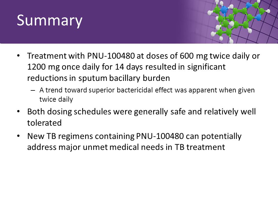 Summary Treatment with PNU-100480 at doses of 600 mg twice daily or 1200 mg once daily for 14 days resulted in significant reductions in sputum bacillary burden – A trend toward superior bactericidal effect was apparent when given twice daily Both dosing schedules were generally safe and relatively well tolerated New TB regimens containing PNU-100480 can potentially address major unmet medical needs in TB treatment