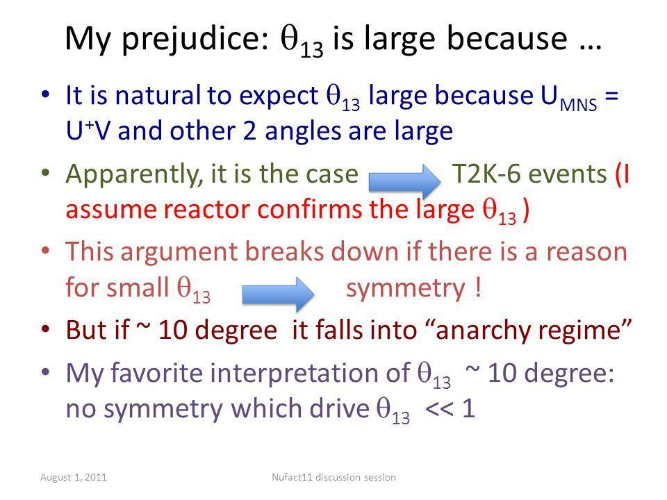 Fate of discrete symmetries You may ask: Are discrete symmetries for small  13 still viable.
