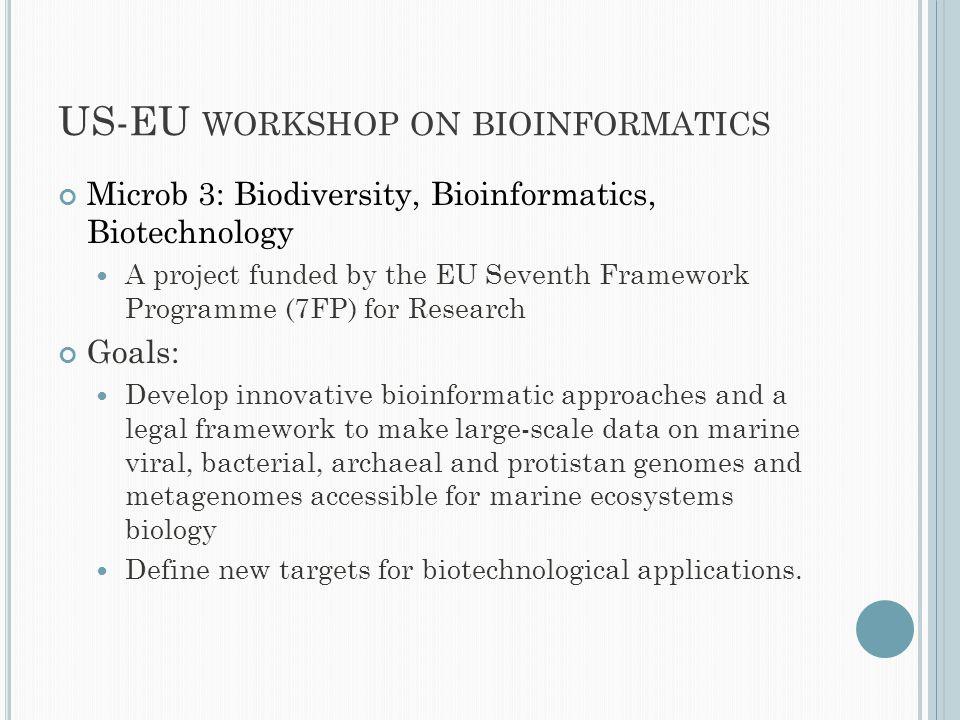 US-EU WORKSHOP ON BIOINFORMATICS Microb 3: Biodiversity, Bioinformatics, Biotechnology A project funded by the EU Seventh Framework Programme (7FP) fo