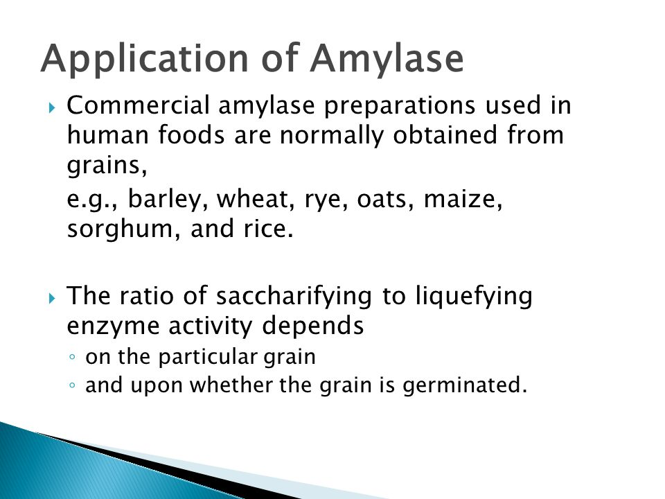  Commercial amylase preparations used in human foods are normally obtained from grains, e.g., barley, wheat, rye, oats, maize, sorghum, and rice.