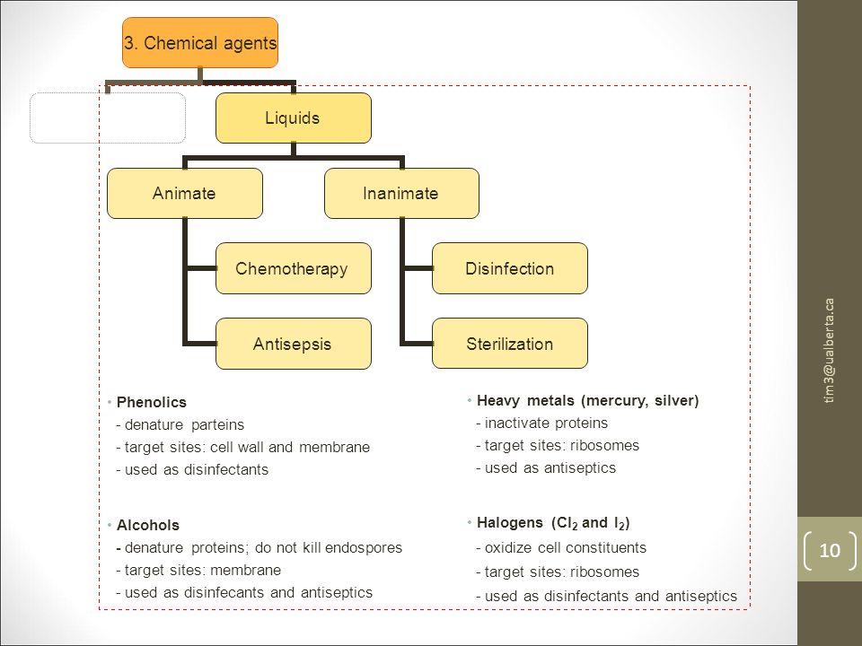3. Chemical agents Liquids Animate Chemotherapy Antisepsis Inanimate Disinfection Sterilization tim3@ualberta.ca 10 Phenolics - denature parteins - ta