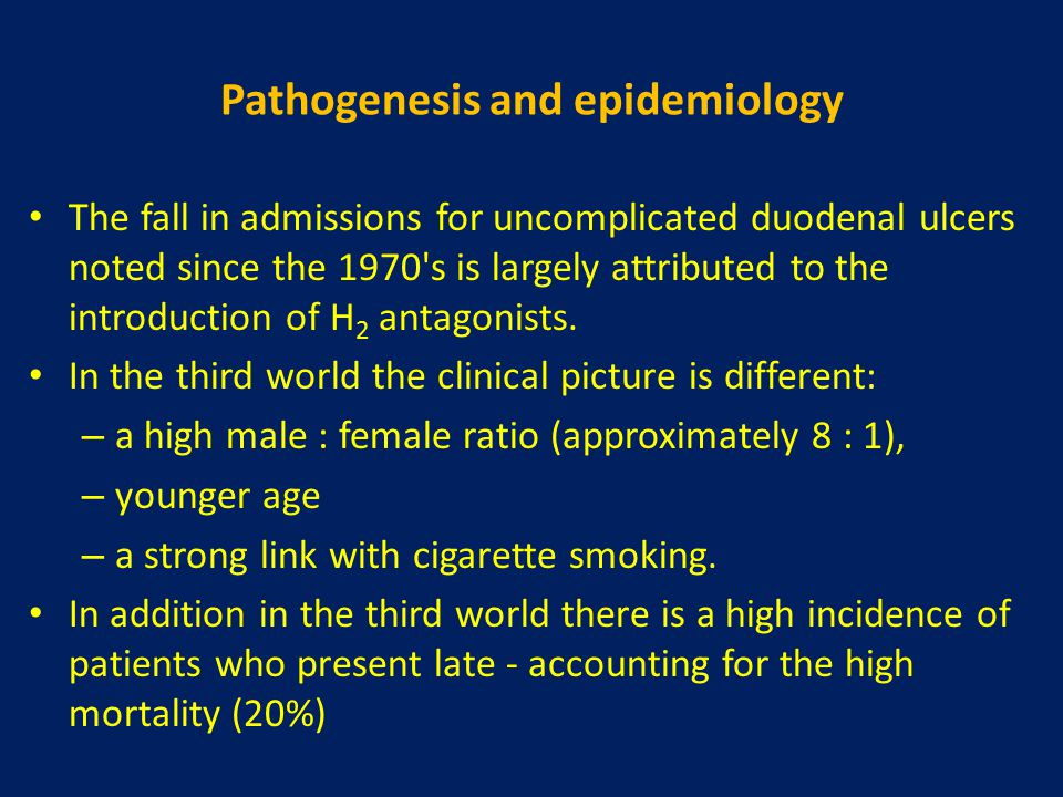 Pathogenesis and epidemiology The fall in admissions for uncomplicated duodenal ulcers noted since the 1970's is largely attributed to the introductio