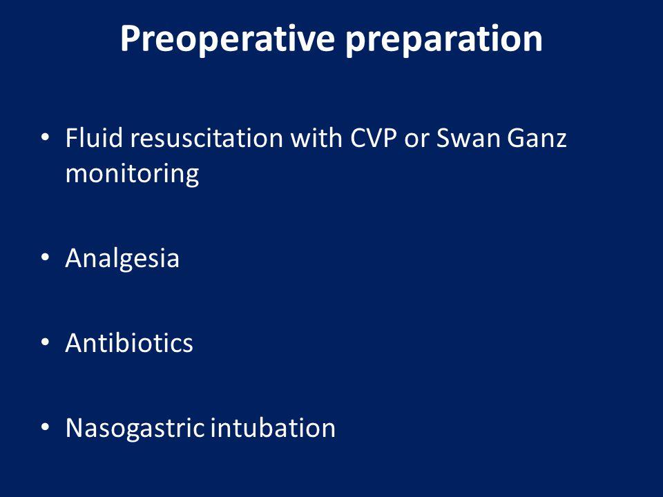 Preoperative preparation Fluid resuscitation with CVP or Swan Ganz monitoring Analgesia Antibiotics Nasogastric intubation