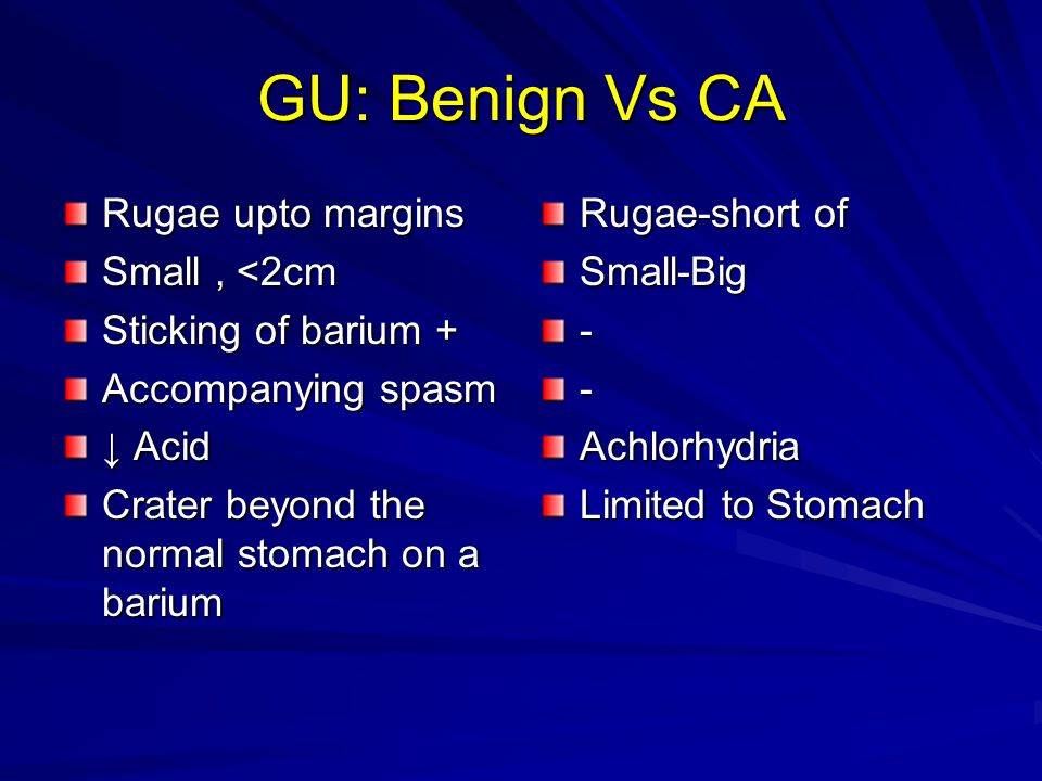 GU: Benign Vs CA Rugae upto margins Small, <2cm Sticking of barium + Accompanying spasm ↓ Acid Crater beyond the normal stomach on a barium Rugae-short of Small-Big--Achlorhydria Limited to Stomach