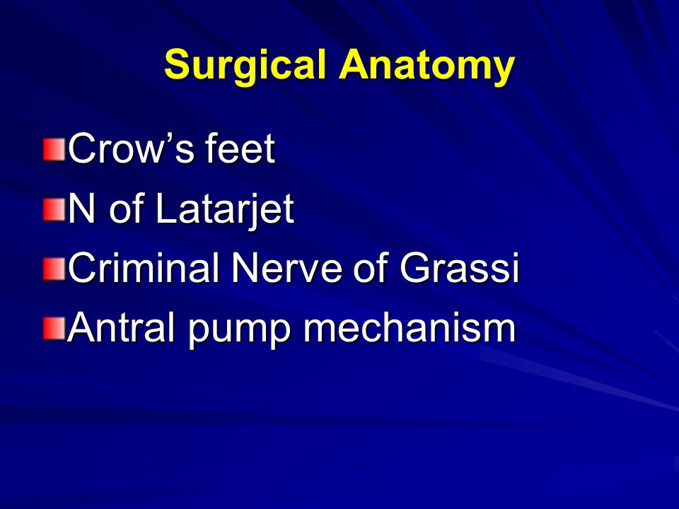 Surgical Anatomy Crow's feet N of Latarjet Criminal Nerve of Grassi Antral pump mechanism