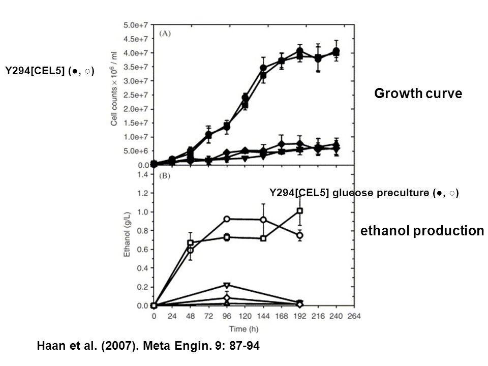 Haan et al. (2007). Meta Engin. 9: 87-94 Growth curve ethanol production Y294[CEL5] (●, ○) Y294[CEL5] glucose preculture (●, ○)