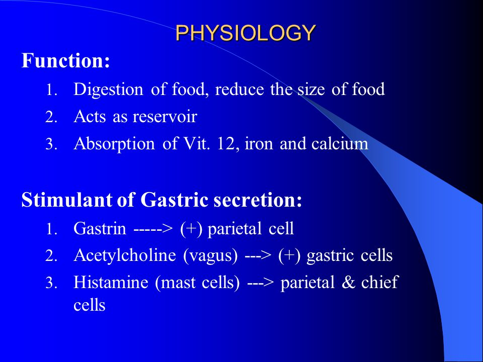 PHYSIOLOGY Function: 1.Digestion of food, reduce the size of food 2.