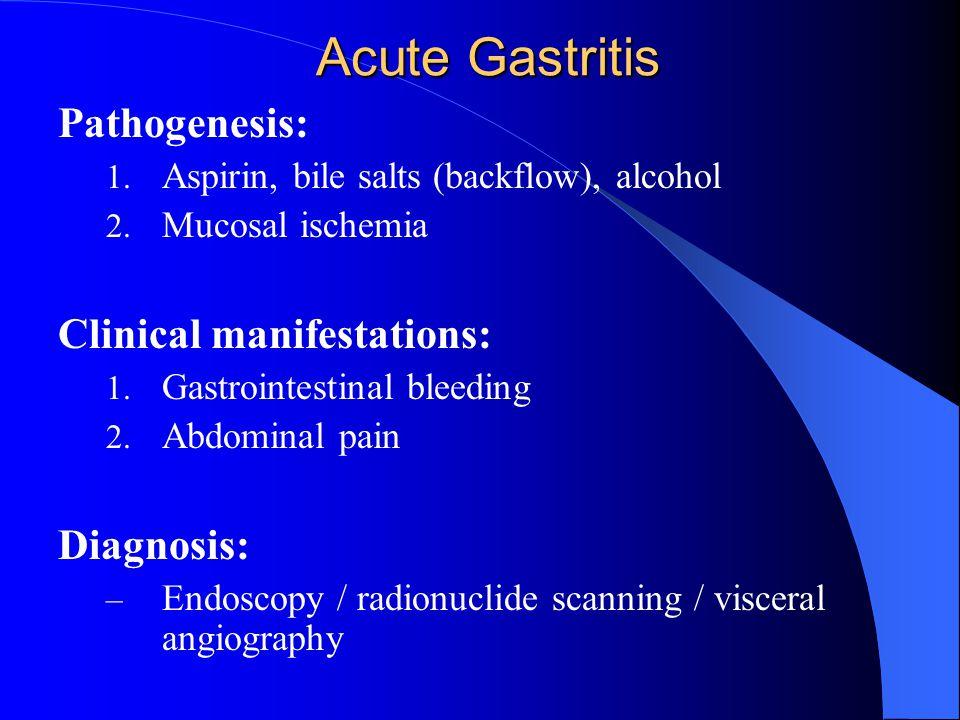 Acute Gastritis Pathogenesis: 1.Aspirin, bile salts (backflow), alcohol 2.