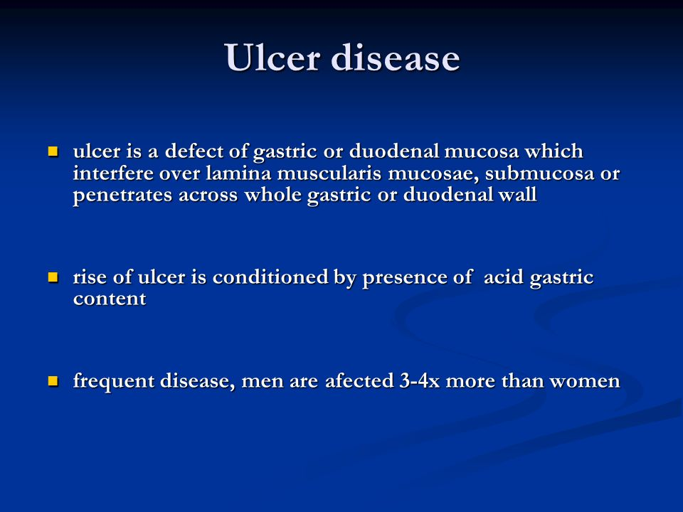 Ulcer disease ulcer is a defect of gastric or duodenal mucosa which interfere over lamina muscularis mucosae, submucosa or penetrates across whole gas