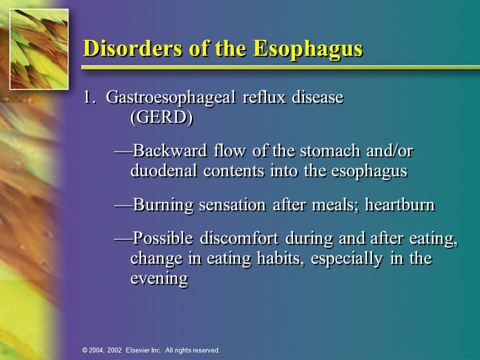 © 2004, 2002 Elsevier Inc.All rights reserved. Disorders of the Esophagus—cont'd 2.