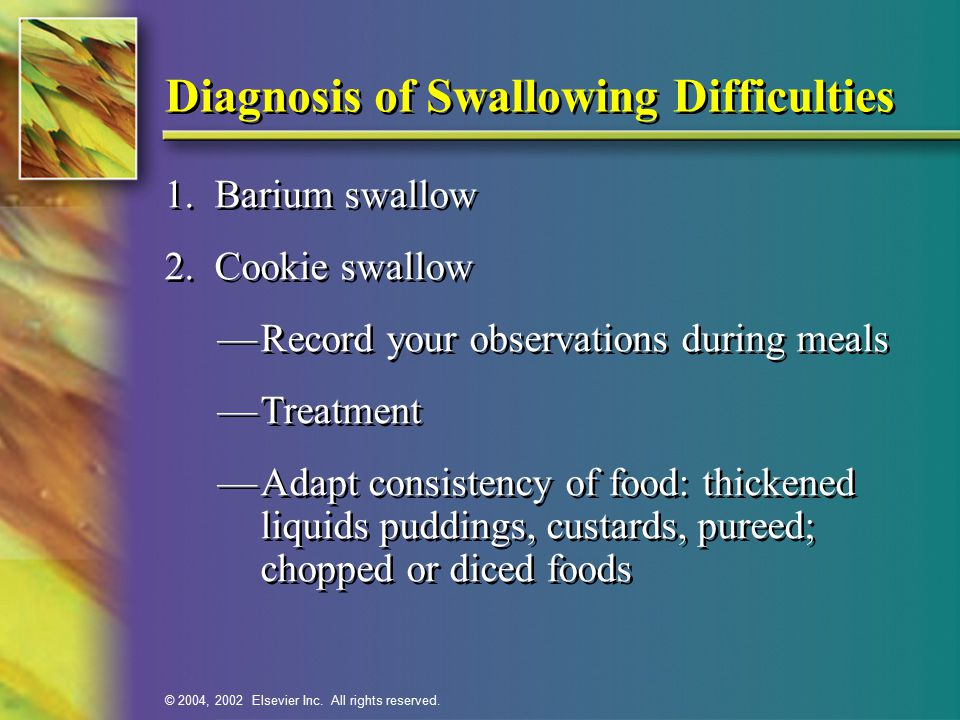 © 2004, 2002 Elsevier Inc. All rights reserved. Diagnosis of Swallowing Difficulties 1.