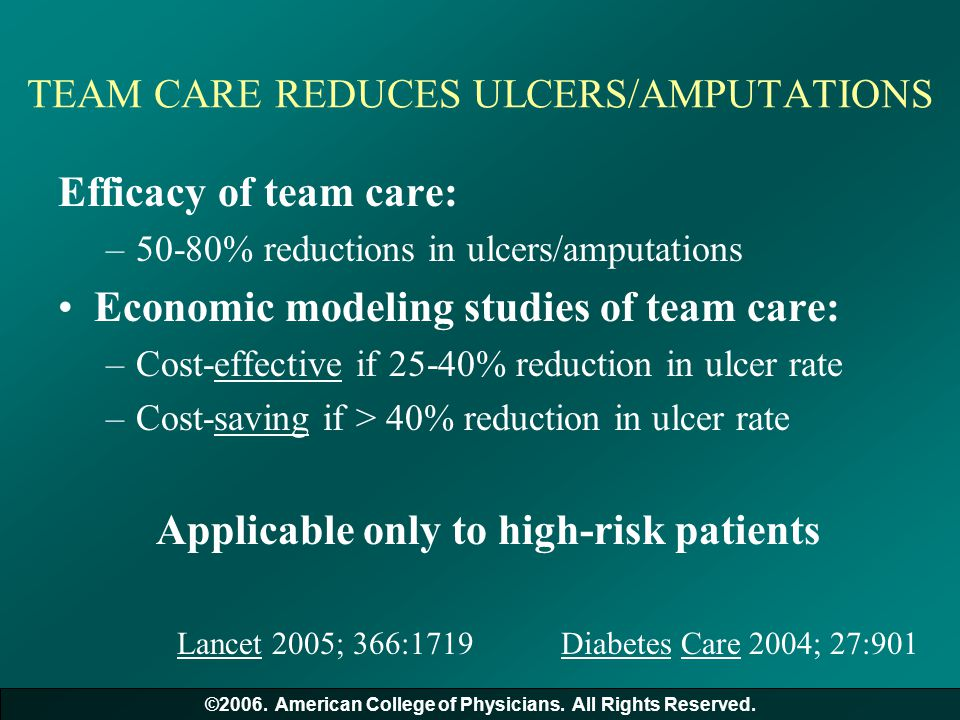 TEAM CARE REDUCES ULCERS/AMPUTATIONS Efficacy of team care: –50-80% reductions in ulcers/amputations Economic modeling studies of team care: –Cost-eff