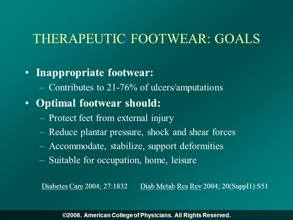 THERAPEUTIC FOOTWEAR: GOALS Inappropriate footwear: –Contributes to 21-76% of ulcers/amputations Optimal footwear should: –Protect feet from external