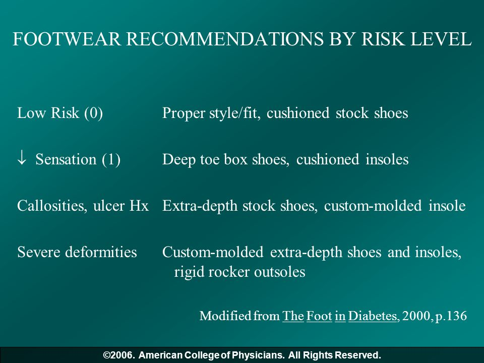FOOTWEAR RECOMMENDATIONS BY RISK LEVEL Low Risk (0)Proper style/fit, cushioned stock shoes  Sensation (1)Deep toe box shoes, cushioned insoles Callos
