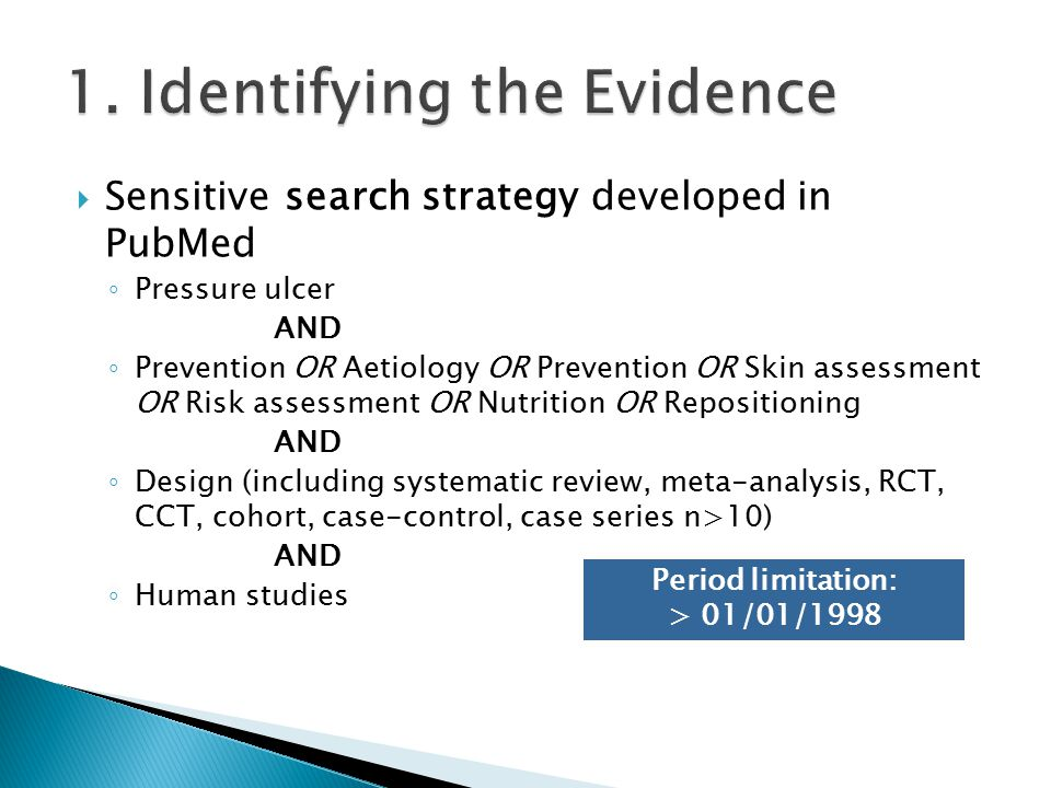  Sensitive search strategy developed in PubMed ◦ Pressure ulcer AND ◦ Prevention OR Aetiology OR Prevention OR Skin assessment OR Risk assessment OR Nutrition OR Repositioning AND ◦ Design (including systematic review, meta-analysis, RCT, CCT, cohort, case-control, case series n>10) AND ◦ Human studies Period limitation: > 01/01/1998