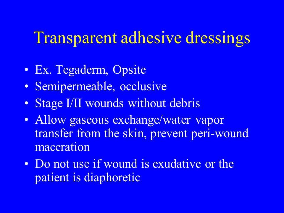 Transparent adhesive dressings Ex.