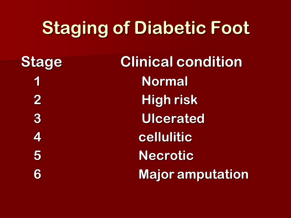 Staging of Diabetic Foot Stage Clinical condition Stage Clinical condition 1 Normal 1 Normal 2 High risk 2 High risk 3 Ulcerated 3 Ulcerated 4 celluli
