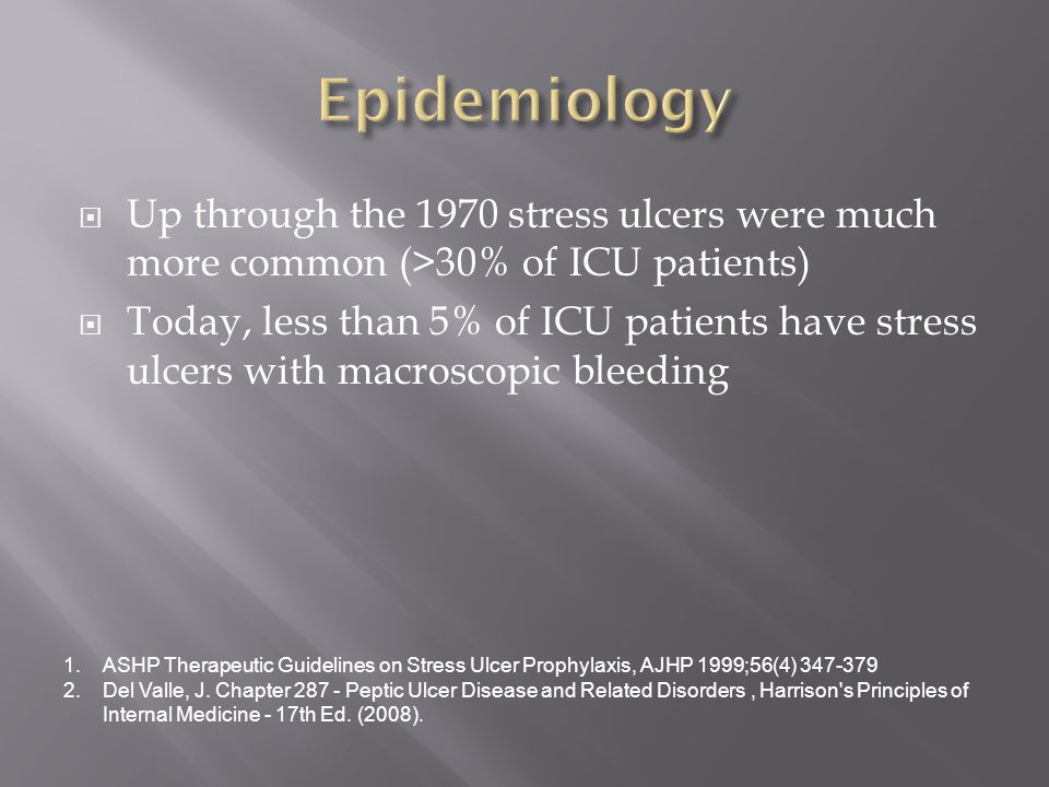  Up through the 1970 stress ulcers were much more common (>30% of ICU patients)  Today, less than 5% of ICU patients have stress ulcers with macroscopic bleeding 1.ASHP Therapeutic Guidelines on Stress Ulcer Prophylaxis, AJHP 1999;56(4) 347-379 2.Del Valle, J.