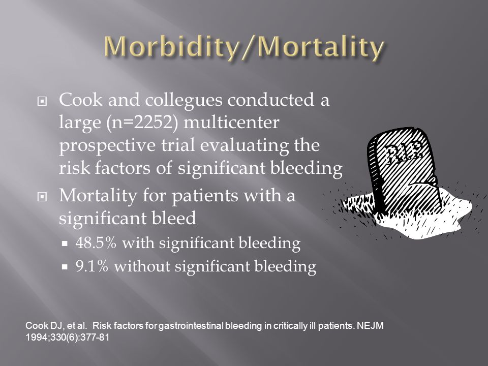 Cook and collegues conducted a large (n=2252) multicenter prospective trial evaluating the risk factors of significant bleeding  Mortality for patients with a significant bleed  48.5% with significant bleeding  9.1% without significant bleeding Cook DJ, et al.