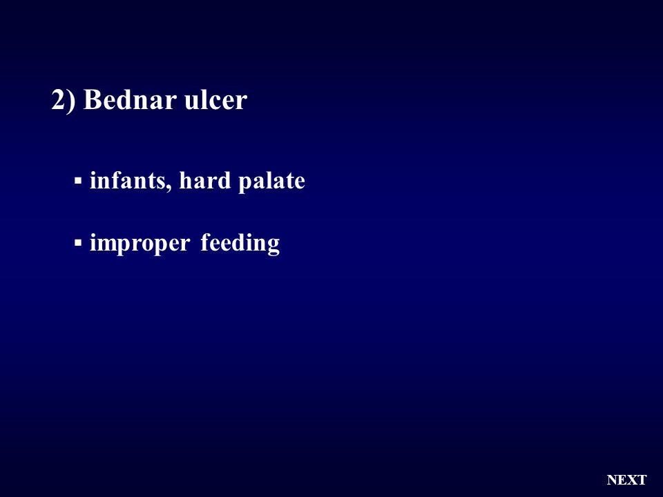  infants, hard palate  improper feeding NEXT 2) Bednar ulcer