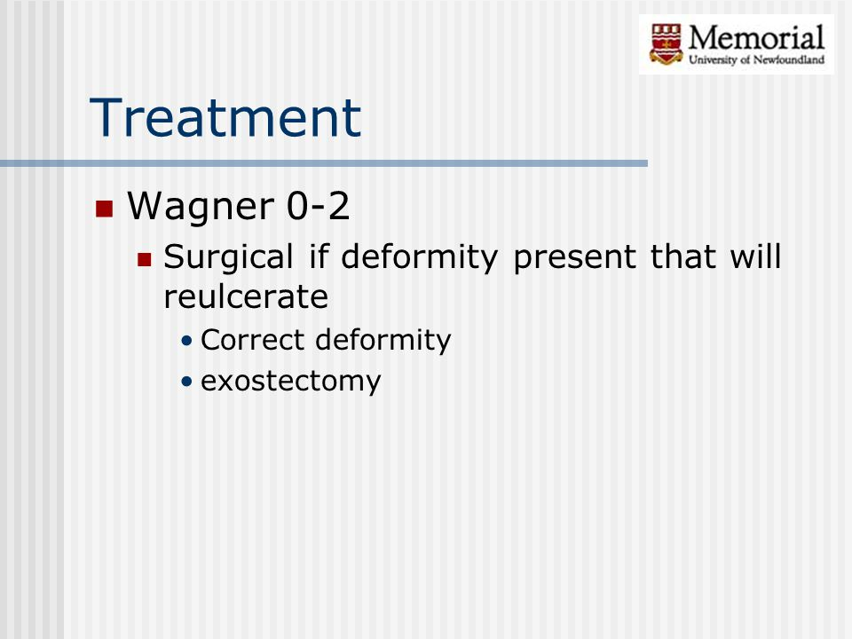Wagner 0-2 Surgical if deformity present that will reulcerate Correct deformity exostectomy