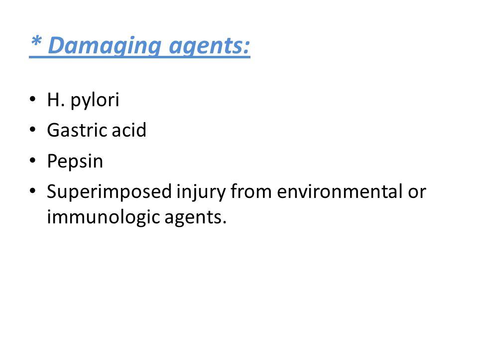 * Damaging agents: H. pylori Gastric acid Pepsin Superimposed injury from environmental or immunologic agents.