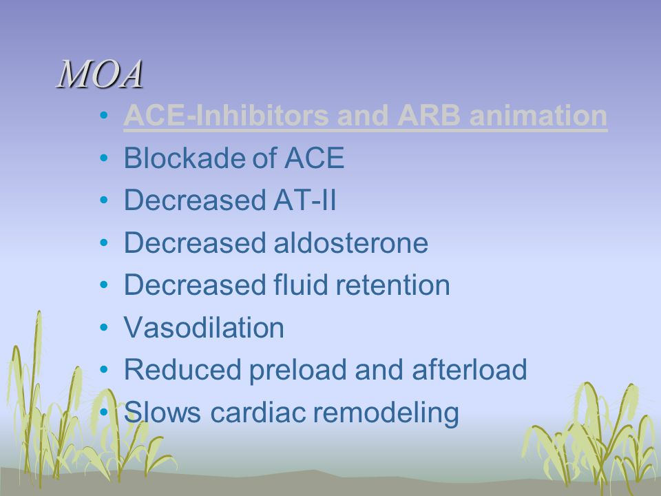 MOA ACE-Inhibitors and ARB animation Blockade of ACE Decreased AT-II Decreased aldosterone Decreased fluid retention Vasodilation Reduced preload and afterload Slows cardiac remodeling