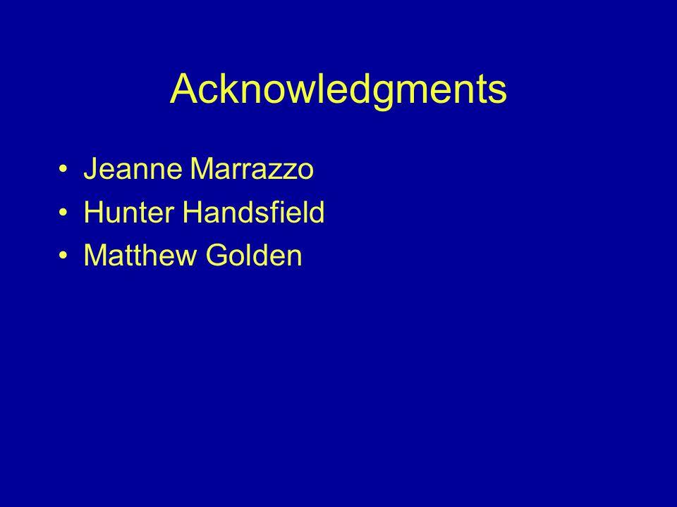 Acknowledgments Jeanne Marrazzo Hunter Handsfield Matthew Golden