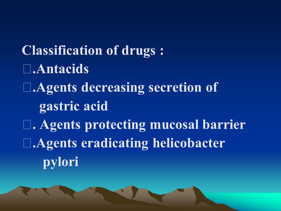 Classification of drugs : Ⅰ.Antacids Ⅱ.Agents decreasing secretion of gastric acid Ⅲ.
