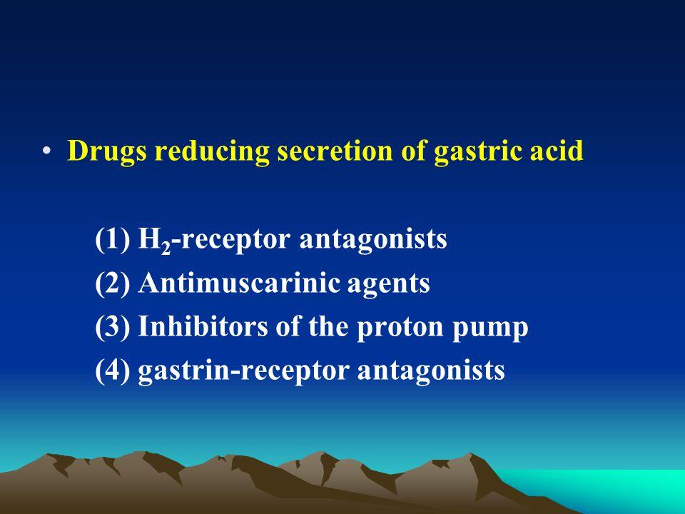 Drugs reducing secretion of gastric acid (1) H 2 -receptor antagonists (2) Antimuscarinic agents (3) Inhibitors of the proton pump (4) gastrin-receptor antagonists