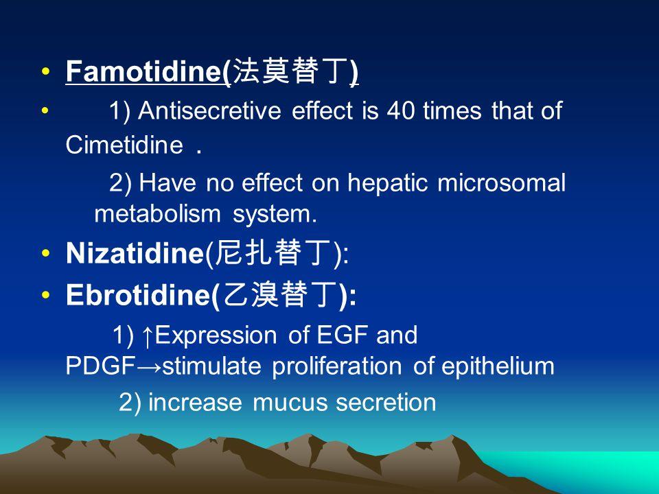 Famotidine( 法莫替丁 ) 1) Antisecretive effect is 40 times that of Cimetidine.
