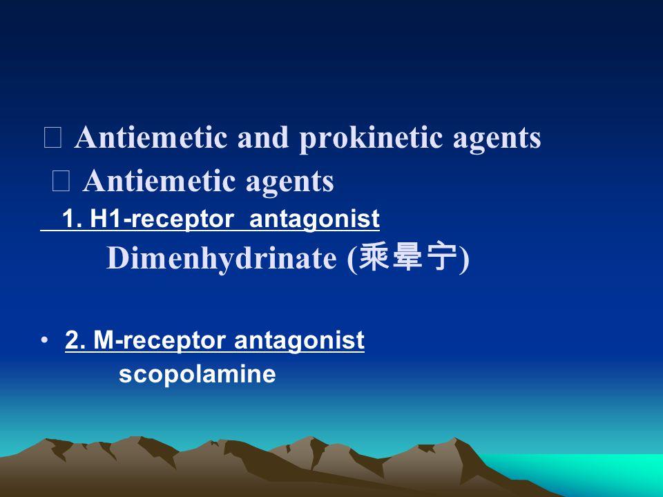 ⅰ Antiemetic agents 1. H1-receptor antagonist Dimenhydrinate ( 乘晕宁 ) 2.