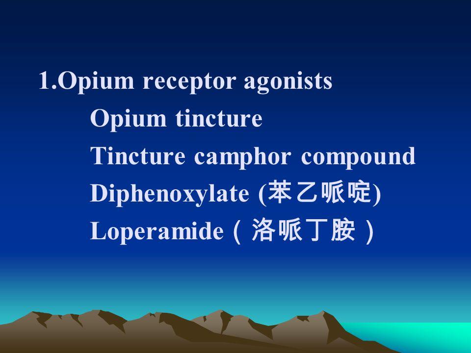 1.Opium receptor agonists Opium tincture Tincture camphor compound Diphenoxylate ( 苯乙哌啶 ) Loperamide (洛哌丁胺)