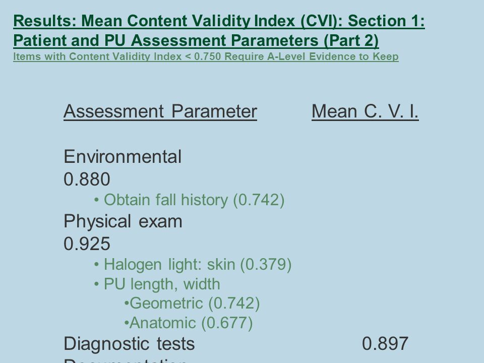Results: Mean Content Validity Index (CVI): Section 1: Patient and PU Assessment Parameters (Part 2) Items with Content Validity Index < 0.750 Require A-Level Evidence to Keep Assessment Parameter Mean C.