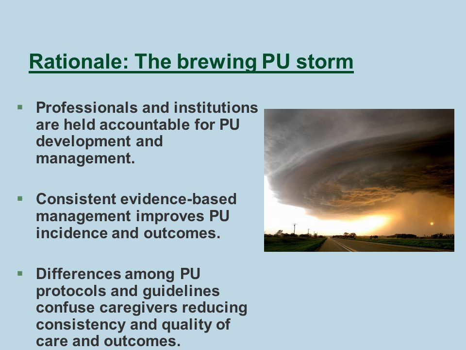 Rationale: The brewing PU storm § Professionals and institutions are held accountable for PU development and management.