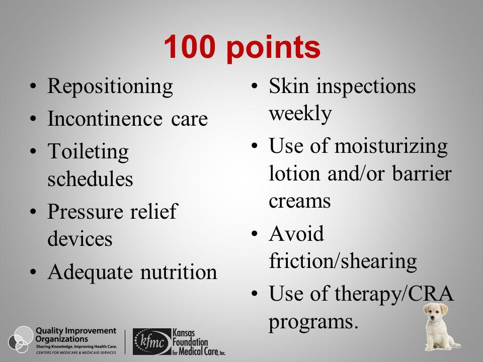 How often should an at-risk resident's skin be inspected for breakdown.