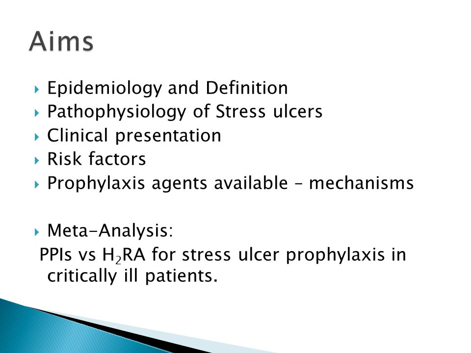  Common  ~ 1.5 – 8.5% GI bleeding in all ICU patients  15% - 25% of ICU patients not on prophylaxis  75% mucosal abnormalities of ICU patients <72hrs (major burn/cranial trauma)  Ulcer: 'Lesion of mucosal membrane accompanied by oedema and necrosis of surrounding tissue'  Loci: Stress ulcers - Fundus (Proximal) Peptic ulcers - antrum (Distal) / proximal duodenum Presentation range: Asymptomatic – Acute haemorrhage depending on depth of ulcer