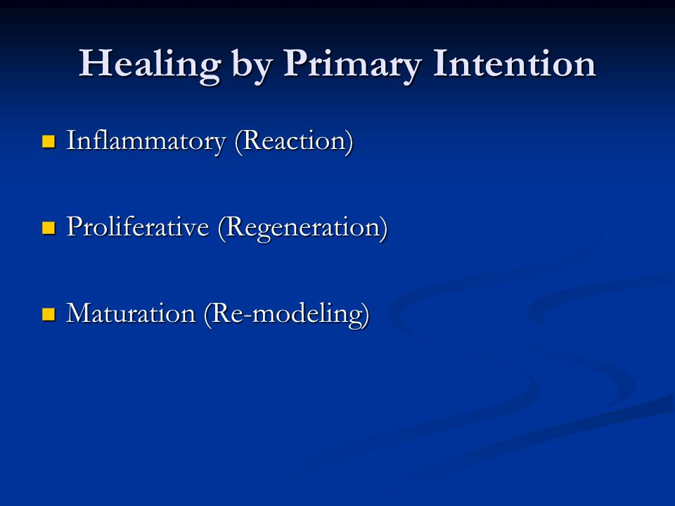 Healing by Primary Intention Inflammatory (Reaction) Inflammatory (Reaction) Proliferative (Regeneration) Proliferative (Regeneration) Maturation (Re-