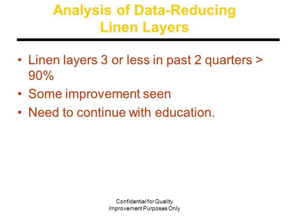 Confidential for Quality Improvement Purposes Only Analysis of Data-Reducing Linen Layers Linen layers 3 or less in past 2 quarters > 90% Some improvement seen Need to continue with education.