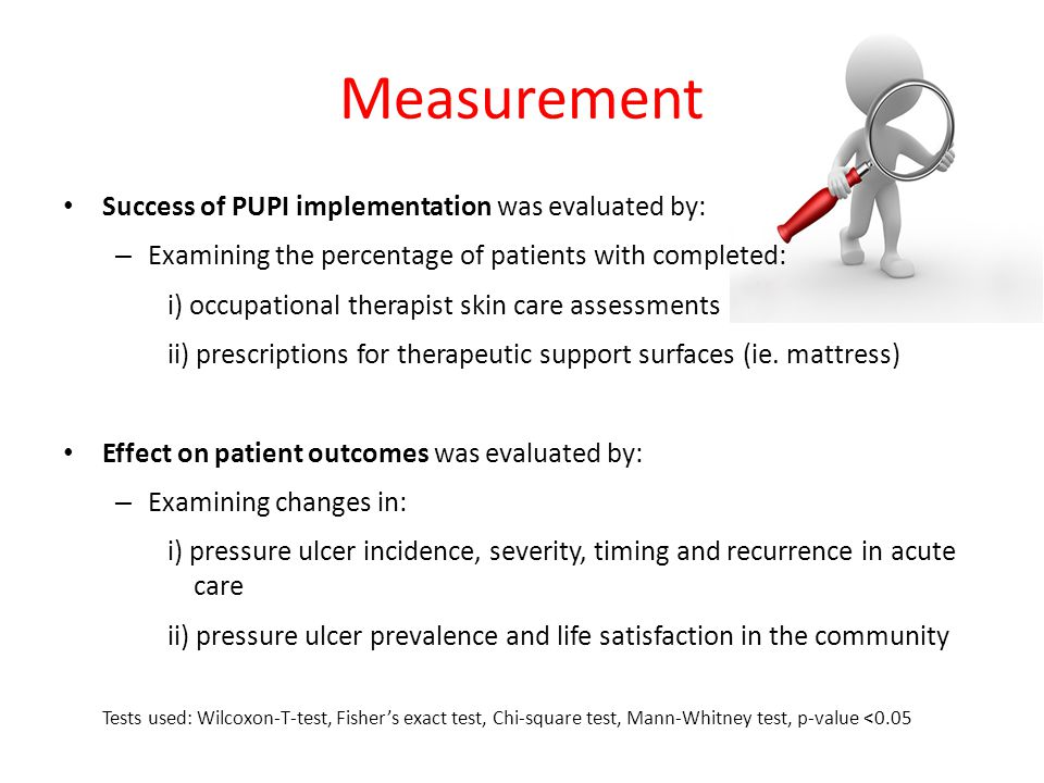 Results Effect of PUPI on OT Practice Change: Sample Size: 70 in cohort 1, 73 in cohort 2 Pressure ulcer screening increased significantly – 31% to 60% Completed Braden assessment increased significantly – 13% to 55% Screenings with pressure ulcer severity data remained low – 50% and 46% (no significant difference) TSS upgrades doubled from 23% to 45% (not significantly different) TSS upgrades accompanied by an OT skin care assessment and Braden assessment increased significantly – 13% to 48% *** * Percent Completed