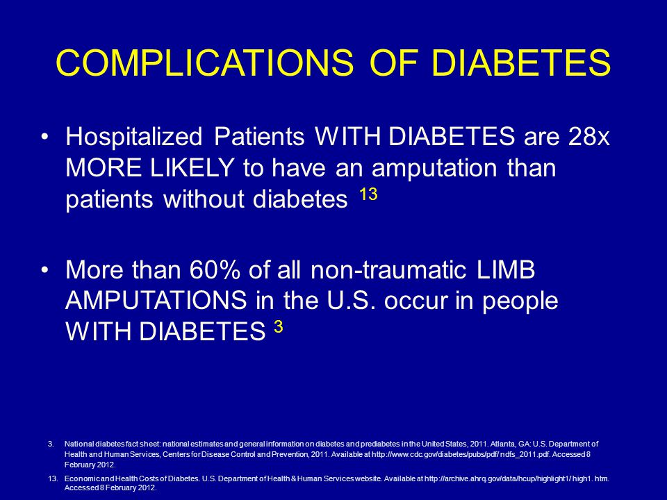 COMPLICATIONS OF DIABETES Hospitalized Patients WITH DIABETES are 28 X MORE LIKELY to have an amputation than patients without diabetes 13 More than 60% of all non-traumatic LIMB AMPUTATIONS in the U.S.
