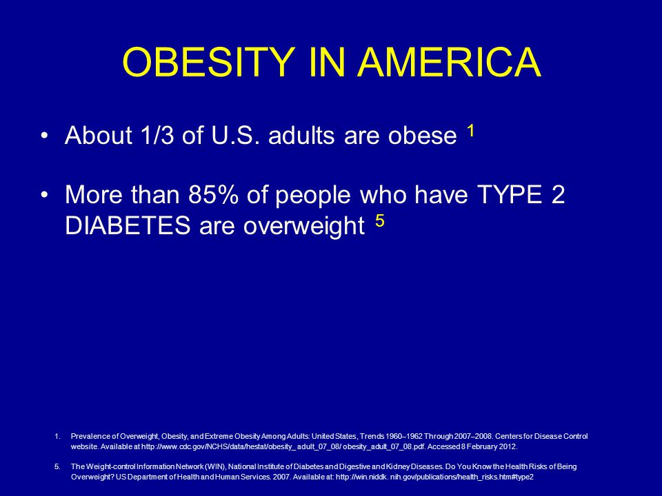 OBESITY IN AMERICA About 1/3 of U.S.
